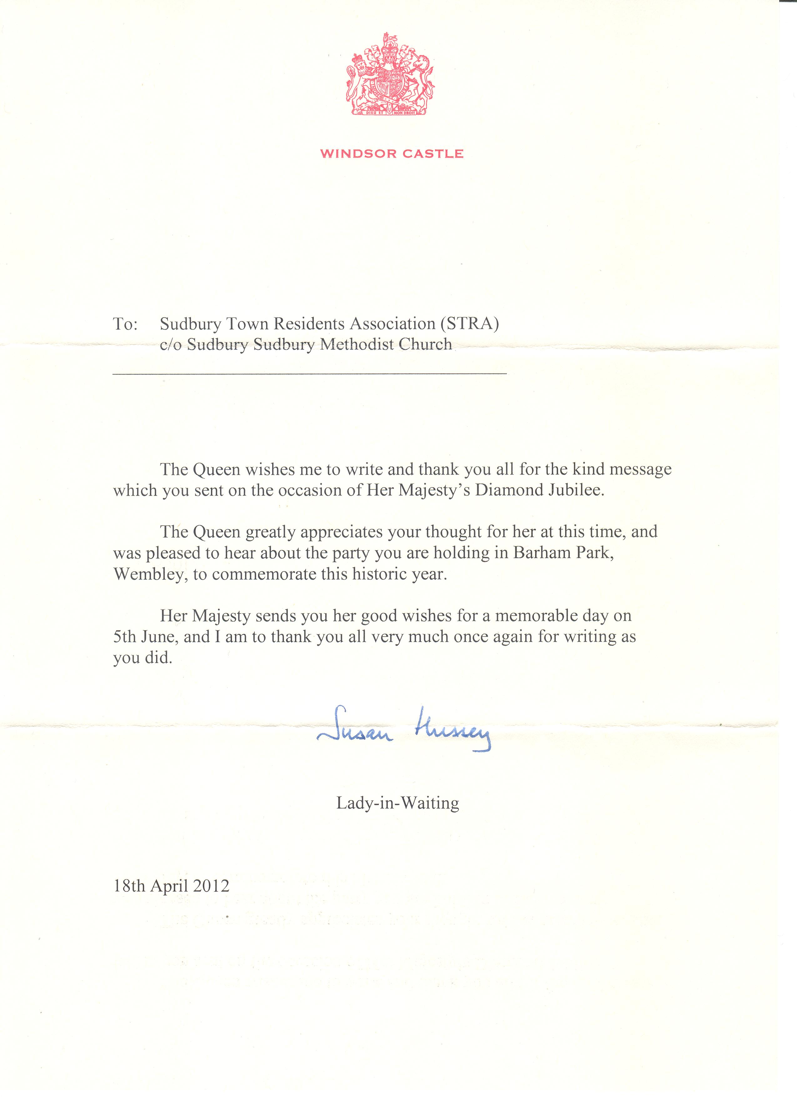 Sudbury Town Residents Association Letter To The Queen