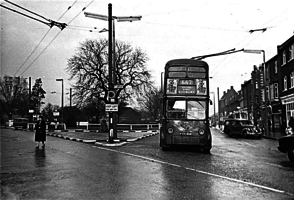 Trolley bus at Sudbury terminus, late 1950's